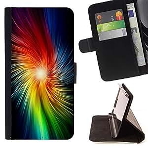For Sony Xperia Z3 Plus / Z3+ / Sony E6553 (Not Z3) Case , Estrella del arco iris Luz Negro- la tarjeta de Crédito Slots PU Funda de cuero Monedero caso cubierta de piel