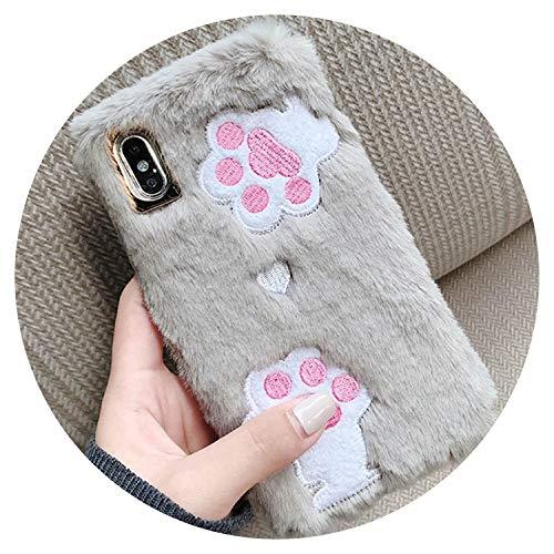 Pink Cute Heart Pattern Plush Phone Case for iPhone X Plus Soft TPU Winter Warm Fur Furry Cover Cases for iPhone 8 7 6 6s Plus,Style 2,for iPhone Xs MAX