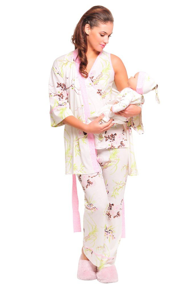 The Olian 5pc. Nursing PJ Set w/ matching Baby Outfit, Small, Print/Pink