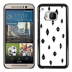 FECELL CITY // Duro Aluminio Pegatina PC Caso decorativo Funda Carcasa de Protección para HTC One M9 // Polygon Black Pattern Abstract