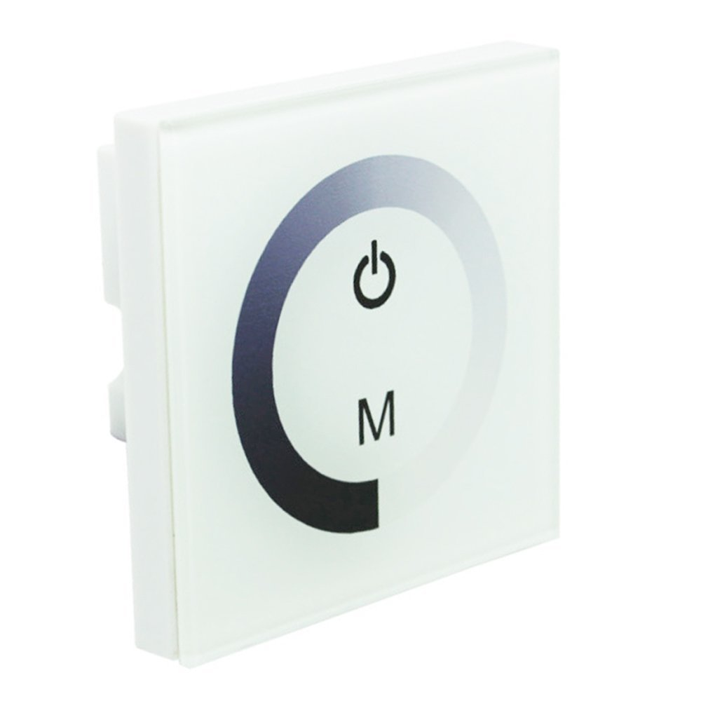 DC12V-24V 8A Wall-mounted Touch Panel Brightness Adjustable Dimmer for Single Color LED Light Strip(Single Color Controller In White)