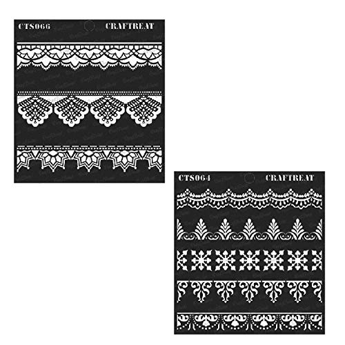 (Craftreat Stencil - Ornate Border & Lace Border (2 pcs) | Reusable Painting Template for Home Decor, Crafting, DIY Albums, Scrapbook and Printing on Paper, Floor, Wall, Tile, Fabric, Wood 6
