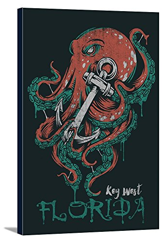 Florida Stretched Canvas (Key West, Florida - Octopus Anchor - Grunge Style (24x36 Gallery Wrapped Stretched Canvas))