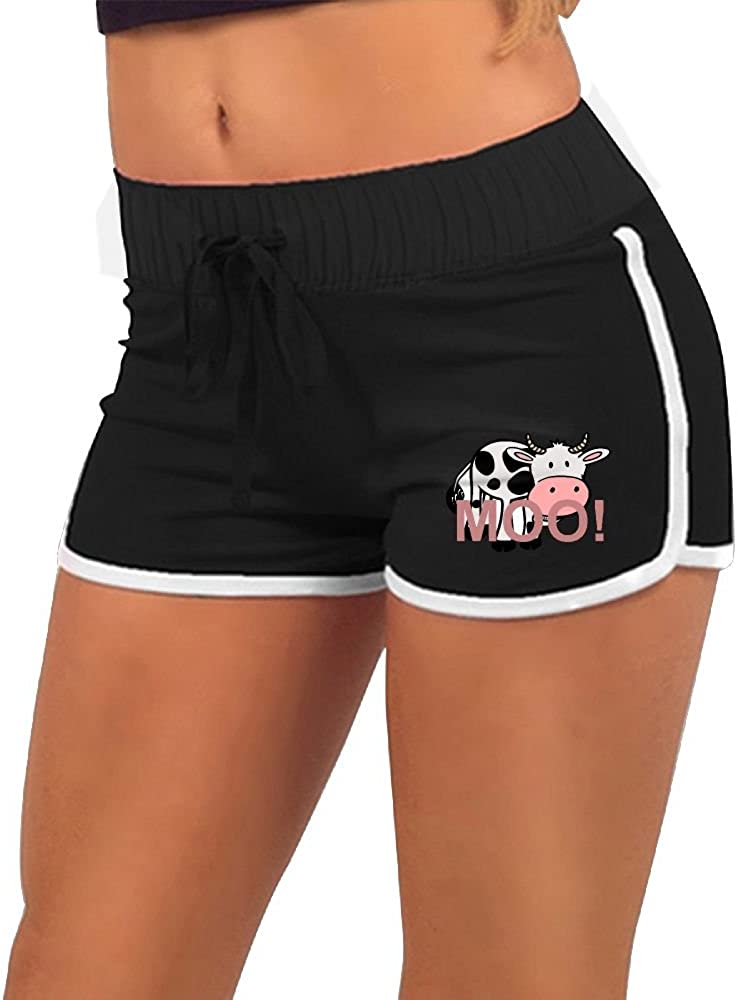Quliuwuda Womens Moo Cow-Cartoon Black Mini Swimming Adjustable Low Waist Hot Shorts