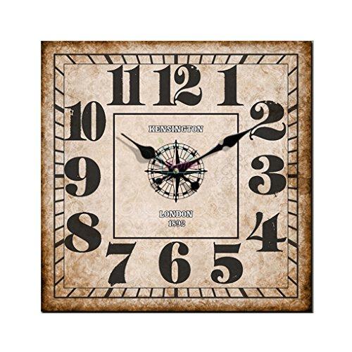 Cloud Clock Retro Square Wall Clock Coffee Black Peach Heart Pointer Arabic Numerals 16 Inch 40Cm - Clock Square Arabic
