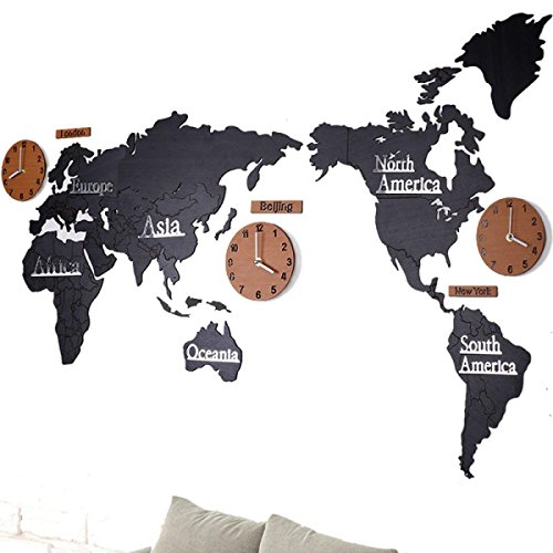 PQPQPQPQ Wall Clock Creative Office Living Room Wall Sticker World Map Wall Clock,Blackplusbrown (Large Rustic Wall Clock With World Map Design)