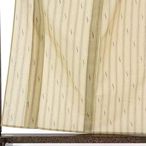 リサイクル紬 / 正絹薄茶地夏物紗紬着物 / レディース【裄Mサイズ】(古着 リサイクル着物 紬 リサイクル品)【ランクA】