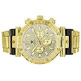 Gold Aqua Master Watch Genuine Diamond Quartz Movement Stainless Steel 3 Timezone Stylish