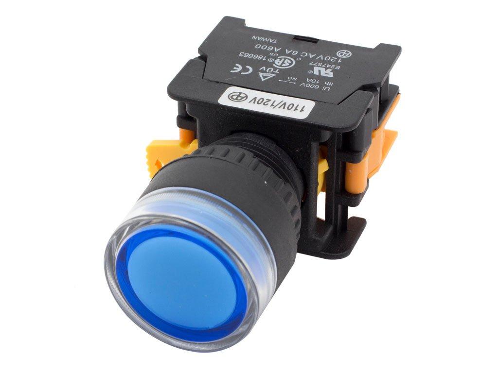 Alpinetech LXG-22 Blue 22mm 1NO Momentary Push Button Switch 110V LED Illuminated