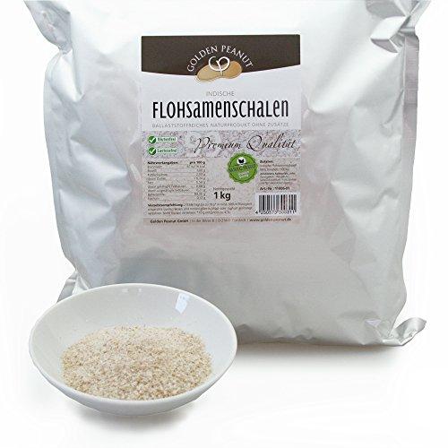 Golden Peanut Premium indische Flohsamenschalen 99% Reinheit 1 KgBeutel, geprüfte Lebensmittelqualität, Extra weiß - keimreduziert - Quellzahl 150ml/g zertifiziert, rückstandsgeprüft, aus frischer Ernte und ausgewählten Anbaugebieten - direkt vom Hersteller - reines Naturprodukt