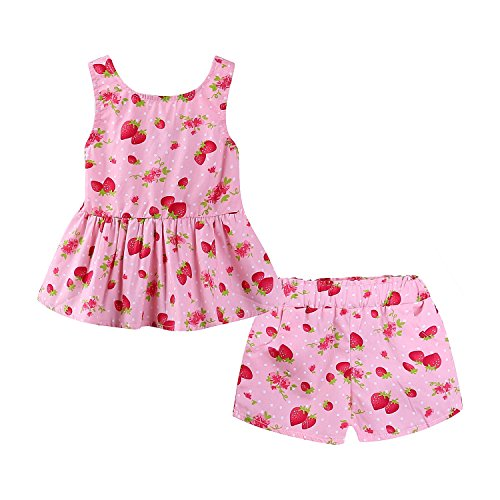 Mud Kingdom Strawberry Little Girl Outfits Summer Holiday Cute Backless Size 5 -