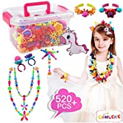#LightningDeal Conleke Pop Snap Beads Set 520Pcs for Kids Toddlers- DIY Bead Toys Made Jewelry Necklaces Bracelets Rings Crafts- Ideal Christmas Birthday Gifts for Girls (Multicolored,a Unicorn Hairpin Included)