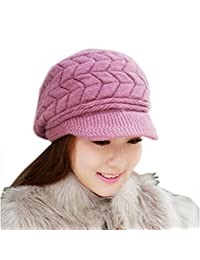 Changeshopping Fashion Women Hat Winter Skullies Beanies Knitted Hats Rabbit Fur Cap (Purple)