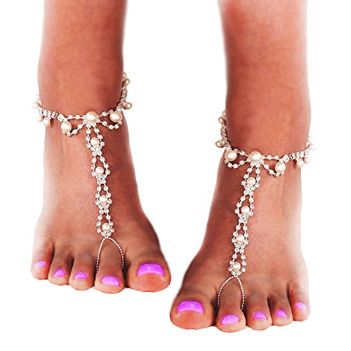 JEWSUN Barefoot sandals with rhinestones and pearl beads. Beach Wedding barefoot Sandals, Pearl Anklets