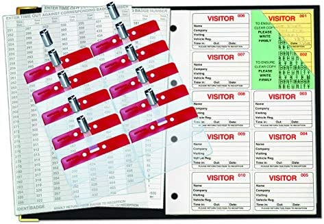 IDENTIBADGE GDPR Compliant Systems Visitors Book Sign-In Book 500 Inserts,  Plastic Binder and 10 Badges
