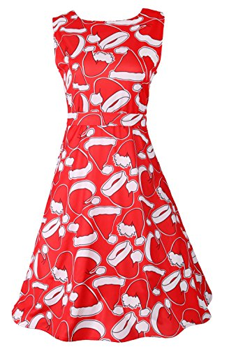 DREAGAL Women Gingerbread Print Long Sleeve Shift Dress RedChristmasHat (Gingerbread Print)