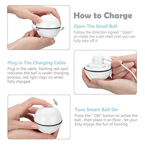 SHU UFANRO Cat Toys Ball Smart Interactive Cat Toy Automatic 360 Degree Self-Rotating Ball USB Rechargeable Build-in Spinning LED Light Pet Toy for Indoor Kitty Exercise Toys 5