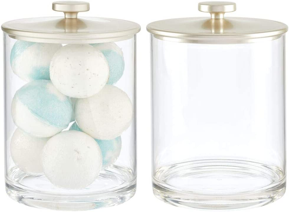 mDesign Modern Plastic Round Bathroom Vanity Countertop Storage Organizer Apothecary Canister Jar for Cotton Swabs, Rounds, Balls, Makeup Sponges, Bath Salts, 2 Pack - Clear/Matte Satin