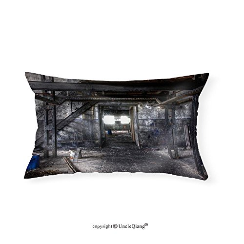 VROSELV Custom pillowcasesAbandoned Dirty Paint Factory in East Germany - Fabric Home Decor(12''x24'') by VROSELV