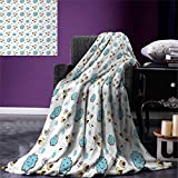 Kids Super Soft Lightweight Blanket Little Flying Birds and Blue Clouds Smiling Happy Characters Childish Toddler Pattern Oversized Travel Throw Cover Blanket 90''x70'' Multicolor