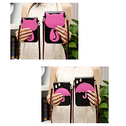Outflower Black Coin Bag Green Leather Bag 10cm Purse Women Cell Phone Hand with Makeup Shoulder 5 Side Adjustable Mini Shape Size Pouch Clutch Croosbody Strap Lovely 15 Wristlet PU Umbrela rxwrqfCnW