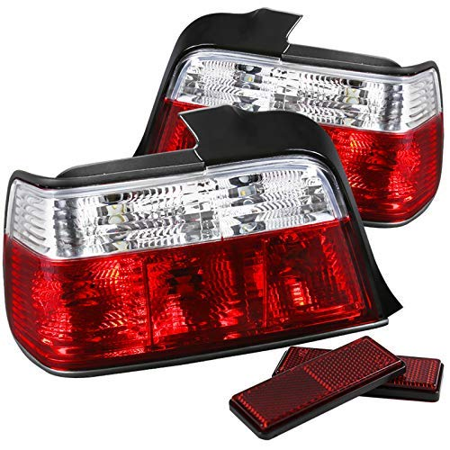 (Velocity Concepts For 92-98 4Dr Sedan Red/Clear Parking Tail Lights Rear Brake Lamps Left+Right)