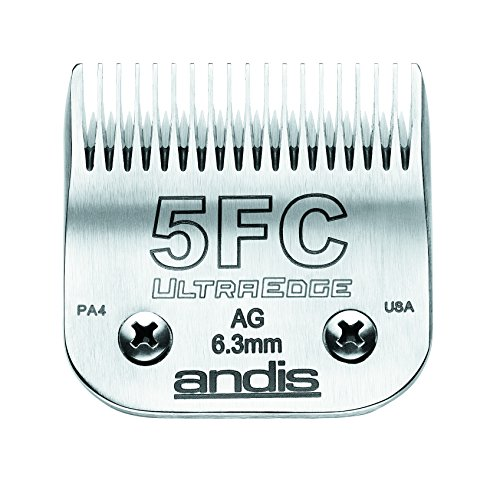 Andis Carbon-Infused Steel UltraEdge Dog Clipper Blade, Size-5 FC, 1/4-Inch Cut Length (64122) Ultra Quiet Motor