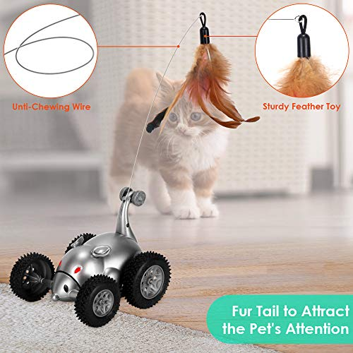 SlowTon Remote Cat Feather Toy, Mouse Shape Interactive Moving Automatic Robotic Rat Sound Chaser Prank Car for Kitten | Stimulate Cat Hunting Instincts | Funny Gifts for Pet (No Battery Included) 7