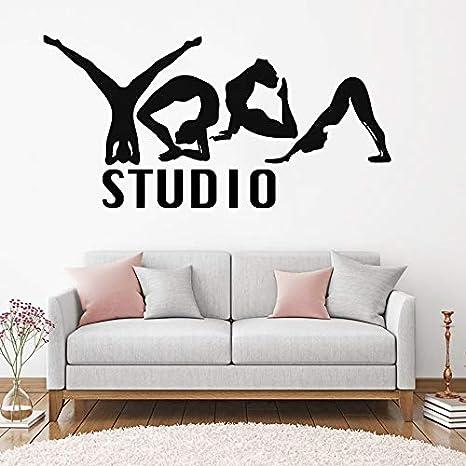 Yoga Studio Logo Vinilo Etiqueta de La Pared Chica Loto Meditación ...