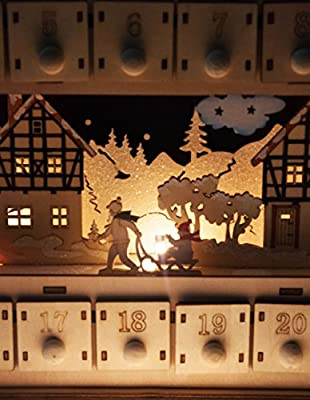 Clever Creations Wooden Advent Calendar | Bright Lights and Christmas Cheer | Perfect Decorations for Your Home