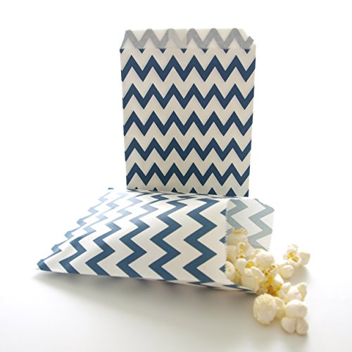Navy Blue Party Gifts Goody Treat Bags, Dessert Buffet Bags, Candy Table Bags, Navy Blue Chevron Bags (25 Pack) (Halloween Popcorn Balls Desserts)