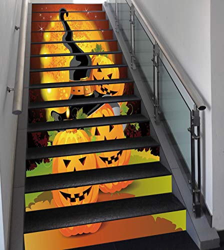 Stair Stickers Wall Stickers,13 PCS Self-adhesive,Halloween,Witches Hat Spooky Pumpkins Magical Night Autumn Nature Full Moon,Light Orange Green Black,Stair Riser Decal for Living Room, Hall, Kids Roo for $<!--$57.99-->