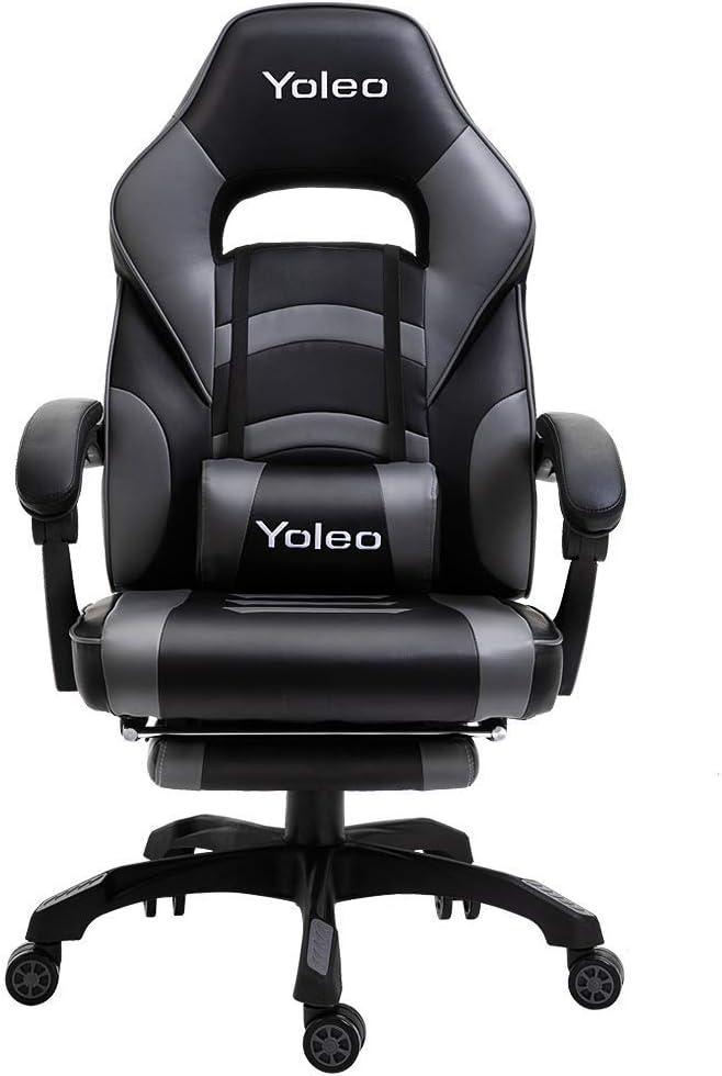 YOLEO Sedia Gaming Sedia da Ufficio Poltrona Gaming con Poggiapiedi Schienale /& Regolabile in Altezza Sedia da Gaming Girevole Ergonomica