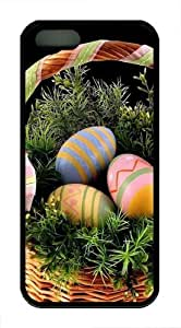 Easter Eggs In Basket Custom iPhone 5s/5 Case Cover TPU Black