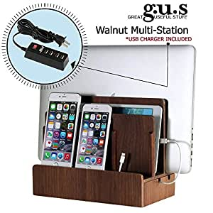 G.U.S. Multi-Device Charging Station Dock & Organizer - Multiple Finishes Available. for Laptops, Tablets, and Phones - Strong Build, Walnut with 4-Port USB Power Strip