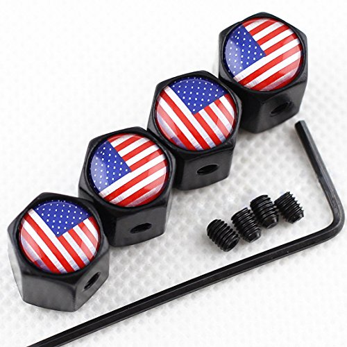 CHAMPLED New (4PC) Flag of USA Logo Metal Black Anti-Theft Wheel TIRE AIR Valve STEM CAPS DUST Cover ()