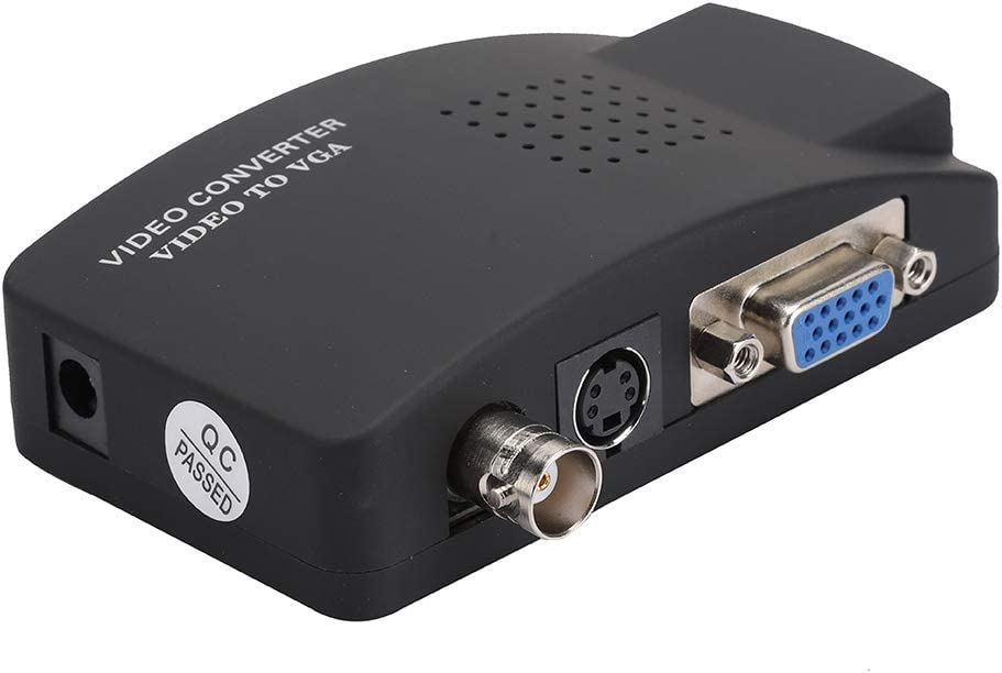 Socobeta Konverteradapter BNC S-Video zu VGA HD Konverteradapter f/ür Computer PC Monitor EU-Stecker