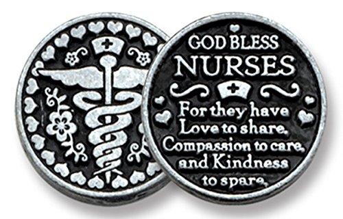 "SIX (6) GOD Bless NURSES - Pewter POCKET Tokens - 1"" Metal Coin RN LPN CNA - CADUCEUS Thank You Gift - NURSING School INSPIRATIONAL Gift - KEEPSAKE"