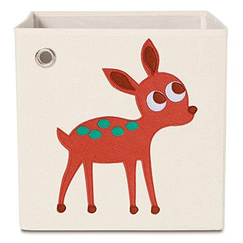 kaikai & ash Toy Storage Bins, Foldable Canvas Cube Box for Kids, 13 inch - Elegant Deer