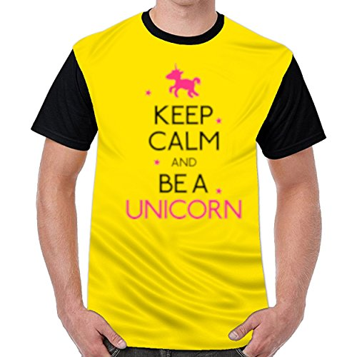 Speciallife Keep Calm and Be a Unicorn Mens Printed Round Neck t Shirts Graphic T-Shirt Yellow