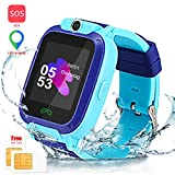 Kids Smart Watch, Enow IP67 Waterproof LBS Tracker with SOS Call Camera Flashlight Alarm Activity 1.44'' Touch Screen SIM Card Slot Electronic Smartwatch for Android/iOS (Sim Card Included)