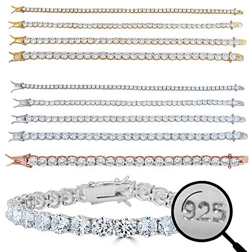 Yellow Plated Stainless Steel Bracelet - Harlembling Real Solid 925 Sterling Silver Mens Or Womens Tennis Bracelet - 14k Yellow & Rose Gold Finish Over Solid 925 Silver - 3-6mm - 6-9