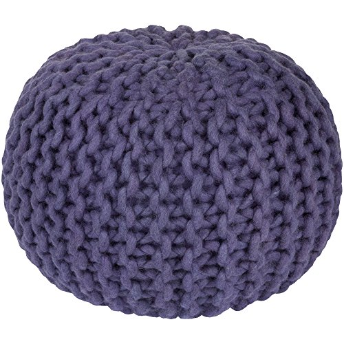 Surya FGPF-003 100-Percent Wool Pouf, 20-Inch by 20-Inch by 14-Inch, Iris (Pouf Ottoman Purple)