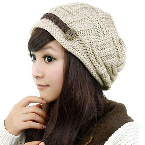 Samtree Womens Beanie Hats,Stretch Crochet Knit Winter Warm Woolen Ski Cap(01-Begie) (Crochet Winter Hats For Women)