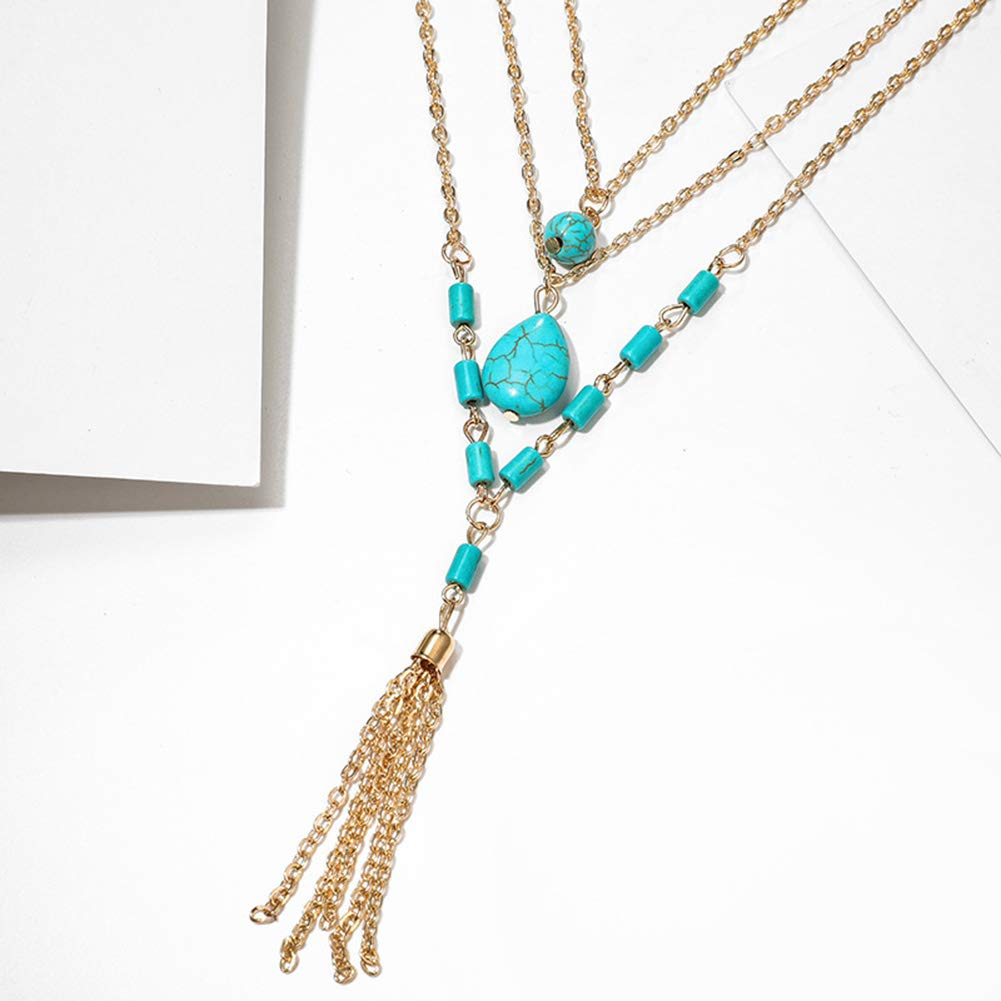 Everrikle Necklaces for women,Bohemia Women Multilayer Faux Turquoise Pendant Tassel Chain Necklace Jewelry,Mother's Day, Valentine's Day, Christmas, Holiday Gifts by Everrikle (Image #3)