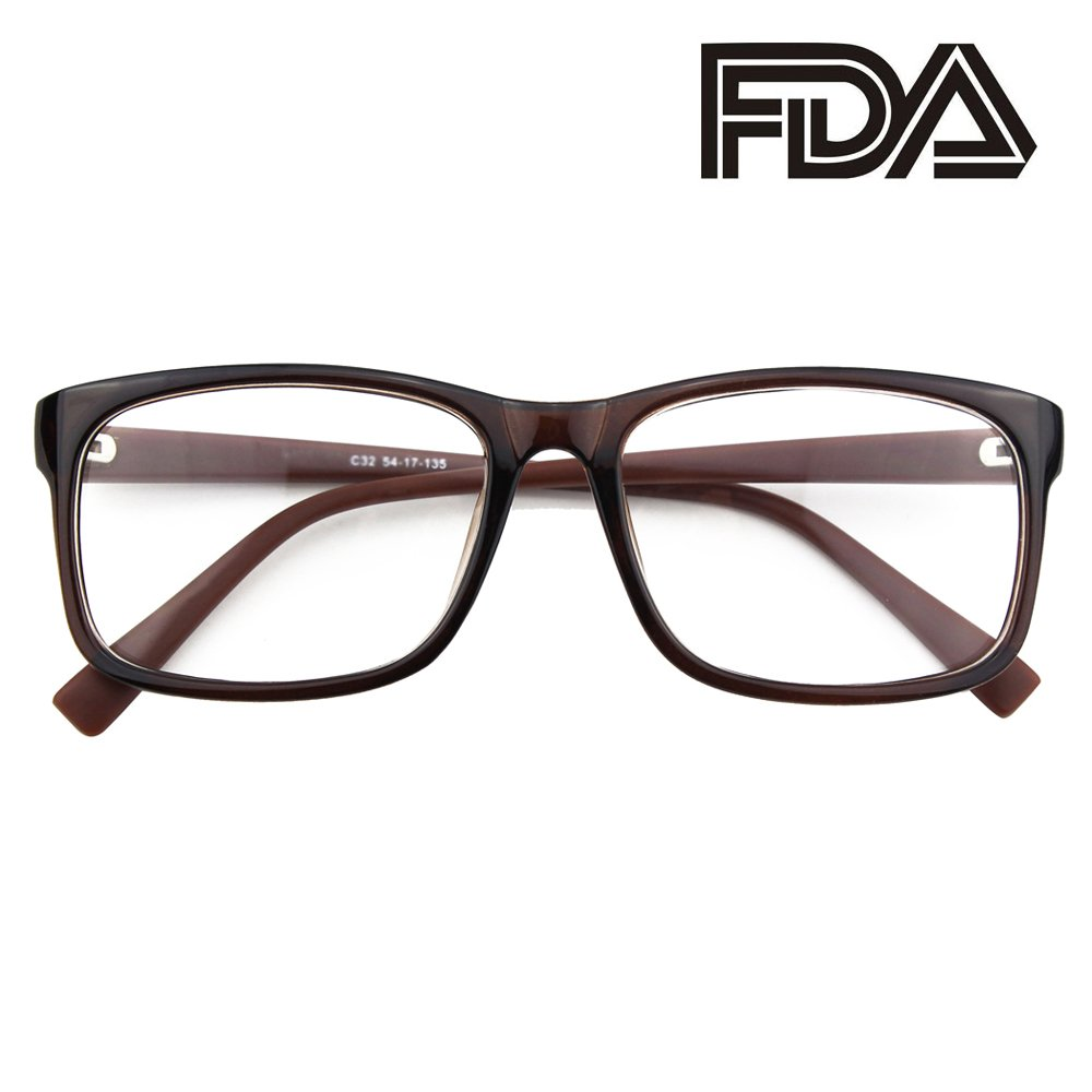Happy Store CN12 Casual Fashion Basic Square Frame Clear Lens Eye Glasses, Brown … Brown … CGID