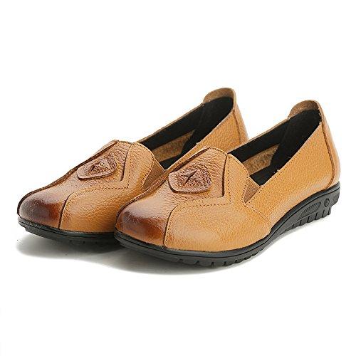 Ethnique Casual 35 De Jaune Cuir Plates Femmes Souple Respirant 43 Style Mocassins Antidérapantes Chaussures Jrenok En Ville wAxY6P61