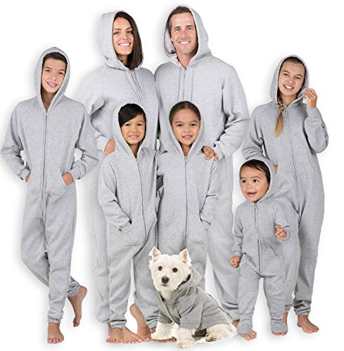 Joggies - Family Matching University Gray Hoodie Onesies for Boys, Girls, Men, Women and Pets (Kids - XLarge (Fits 5'0-5'3