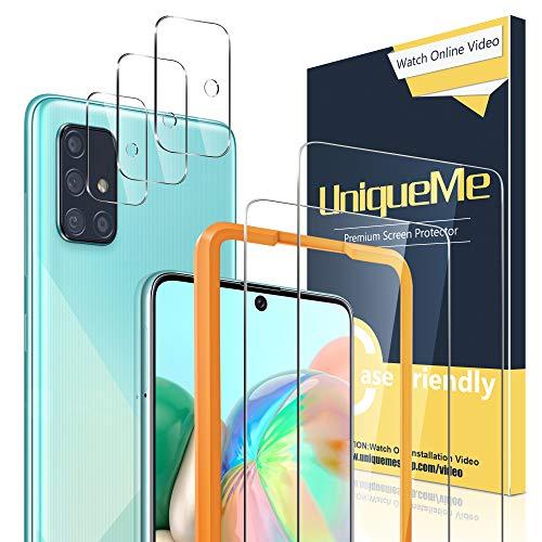 🥇 [2 Pack] UniqueMe Protector de Pantalla para Samsung Galaxy A71 / A71 5G + [3 Pack] Protector de Lente de cámara