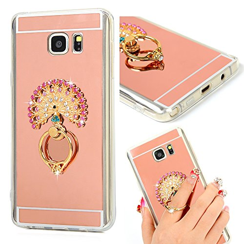 Note 5 Case,Samsung Galaxy Note 5 Case – Mavis's Diary 3D Handmade Bling Crystal Colorful Diamonds Peacock with Metal Ring Stand Holder 360-degree Rot…